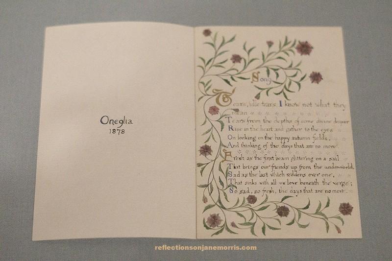 illustrated poem, calligraphy, watercolour, jane morris, pre-raphaelites, handwriting, castle howard york, dante gabriel rossetti, william morris, gedicht, handschrift